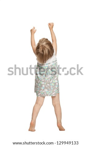 Little baby girl showing something above her, rear view; isolated on white - stock photo