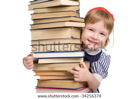 little baby with books isolated on white background - stock photo