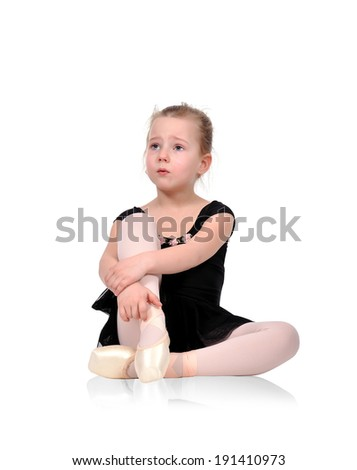 little ballerina crying from exhaustion - stock photo