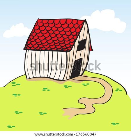 little barn on a green hill cartoon - stock photo