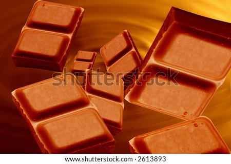 Little bars of chocolated falling into melted chocolate mass - stock photo