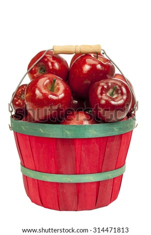 Little Basket Of Delicious Red Apples/ Red Basket With Red Apples Isolated - stock photo