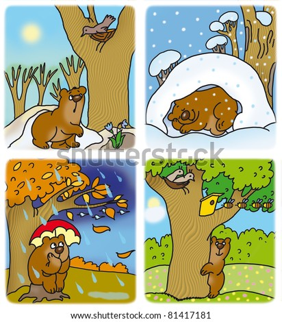 little bear cub at different times of the year - stock photo
