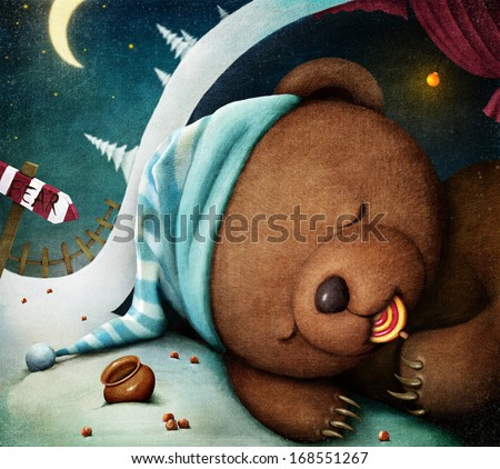 Little bear sleeping in the den, sucking candy. Computer graphics. - stock photo