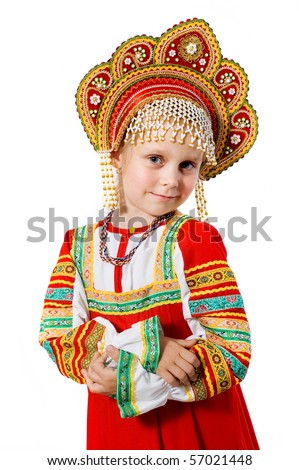 little beauty.girl in Russian national dress on a white background - stock photo