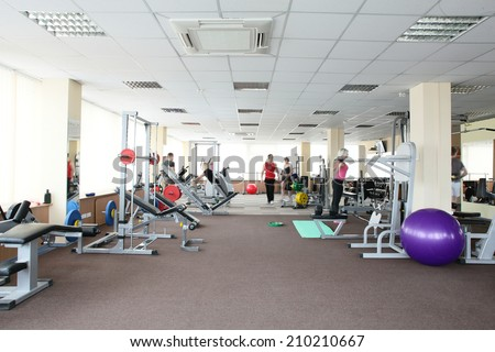 little bit used european sport gym without people - stock photo
