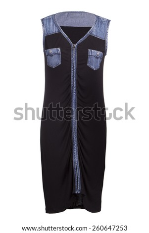 Little black dress with jeans insertion - stock photo