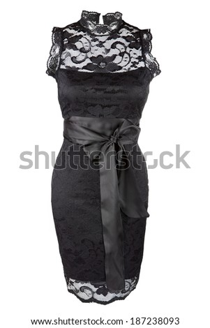 Little black dress with lace - stock photo