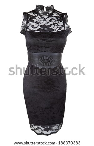 Little black dress with lace and leather belt - stock photo