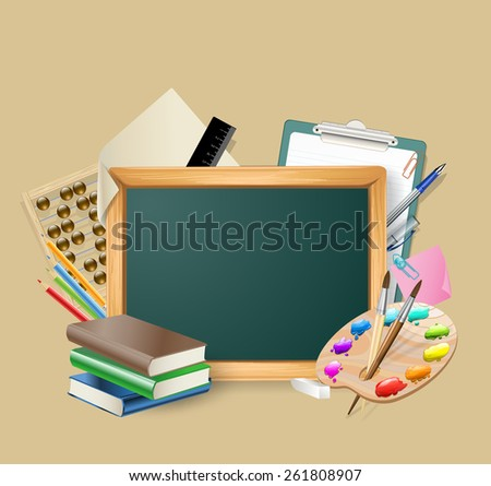 little blackboard with set of stationary tools - stock photo