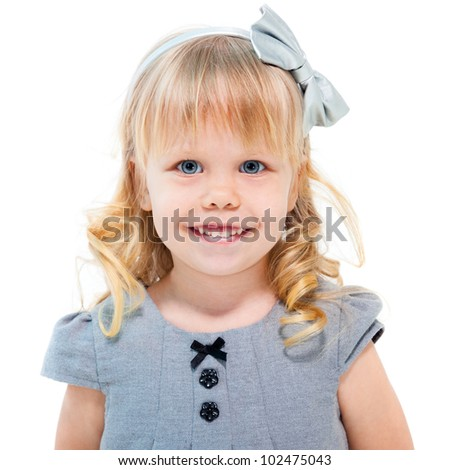 Little blond girl smiling isolated on white background - stock photo