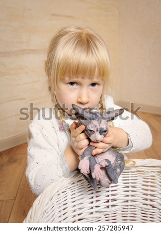 Little blond girl with pigtails holding a small grey and white sphynx kitten above a rustic wooden basket - stock photo