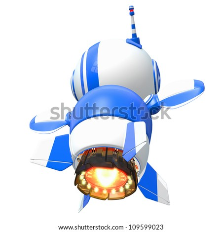 Little blue rocket robot flying away at the speed of imagination. - stock photo