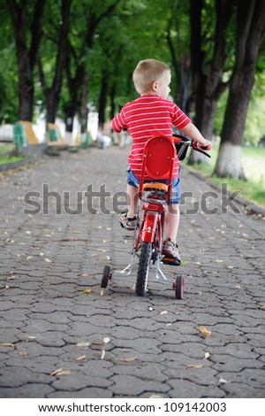 Little boy aged four riding a bike in park. Rear view. - stock photo