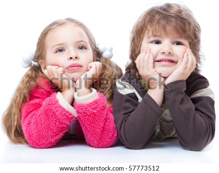 Little boy and girl in love. Isolated on white background - stock photo
