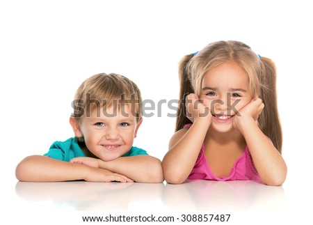 little boy and girl smiling - stock photo