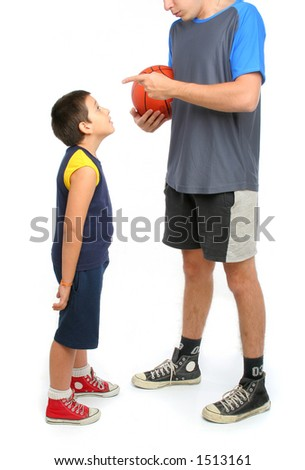 little boy asking big man to play basketball . From my sport series. - stock photo