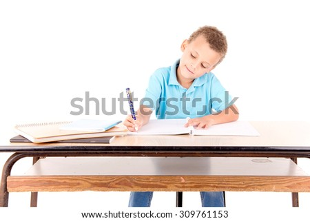 little boy at school isolated in white - stock photo