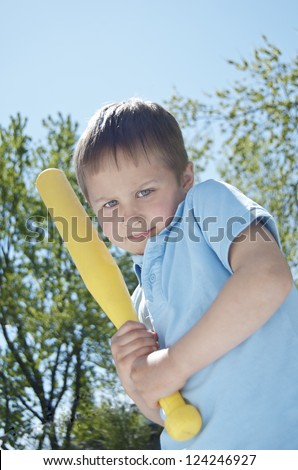 "Little Boy ""Batter Up"" - stock photo"