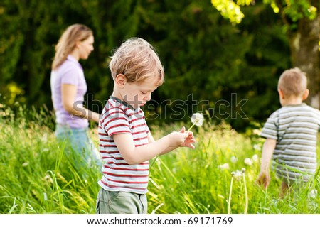 Little boy blowing dandelion seed for a wish on a meadow outdoors in summer, in the background his brother and mother - stock photo