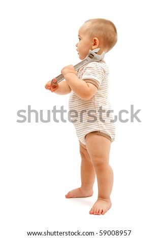 Little boy carrying a big, adjustable wrench on his shoulder. Isolated on white - stock photo