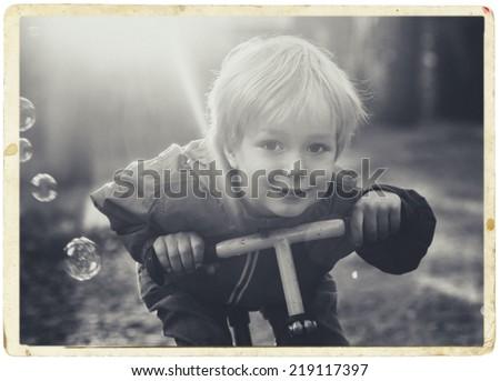 little boy child portrait black and white - stock photo