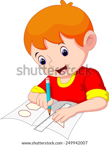 Little boy drawing on a piece of paper - stock photo