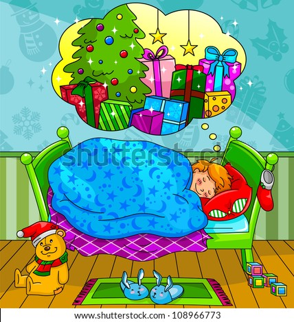 little boy dreaming about christmas presents (vector version available in my gallery) - stock photo