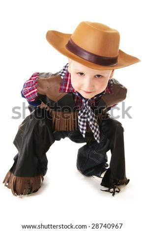 little boy dressed up in western attire - stock photo
