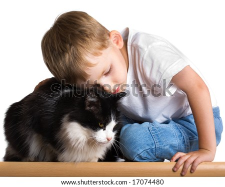 Little boy embraces the cat - stock photo