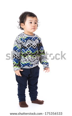 Little boy feel sad - stock photo