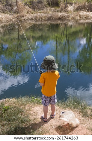 Little boy fishing in a pond view from behind - stock photo