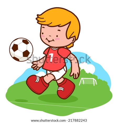 Little boy football player playing soccer. A happy child plays football on the football field. Vector version also available in my gallery. - stock photo