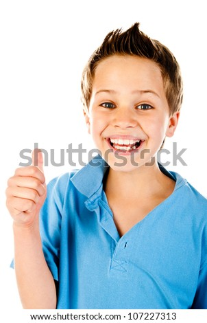 little boy giving a thumb up - stock photo