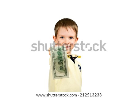 little boy giving money bill 100 us dollars. isolated on white background. Focus on the banknote. horizontal - stock photo