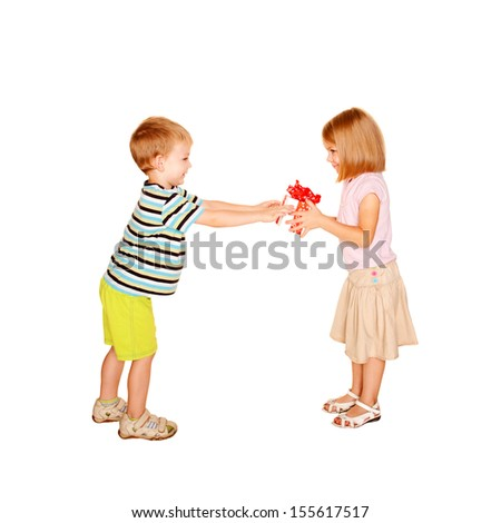 Little boy giving to little girl the gift. Present for birthday, valentine's day or other holiday. Ready for your text, logo or symbols. Kids love. Isolated on white background - stock photo