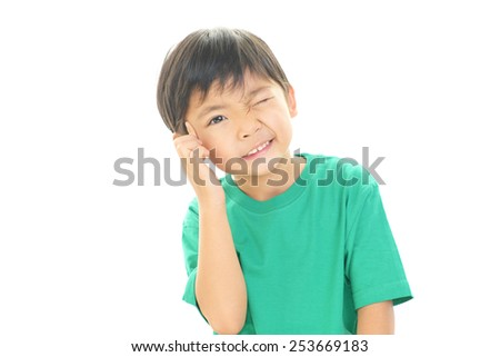 Little boy have a anxiety expression - stock photo