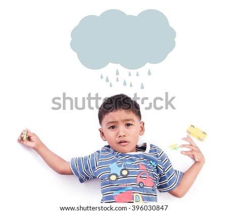 little boy have cold sick  - stock photo