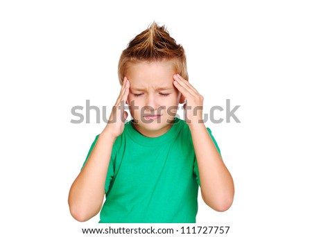 Little boy having a headache - stock photo