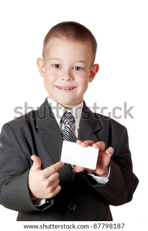 little boy holding a blank. Isolated on white background - stock photo