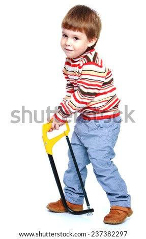 Little boy holding a saw.Isolated on white background portrait. - stock photo