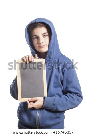 Little Boy Holding Blank Blackboard  - stock photo