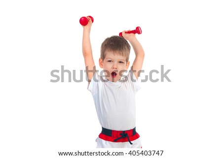 Little boy holding two dumbbells above his head isolated on white background - stock photo