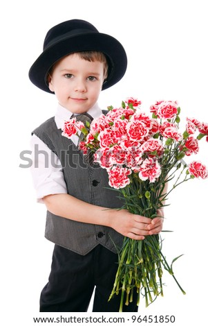 Little boy holds a bouquet of pink carnations, isolated on white - stock photo