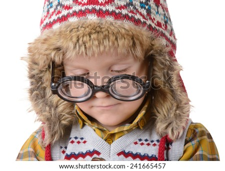 little boy in a cap and funny glasses on a white background - stock photo