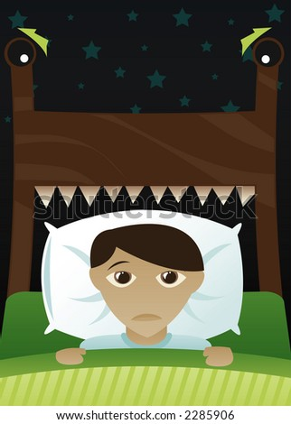 Little boy in bed, scared of the dark and imagining his bed's become a monster - stock photo
