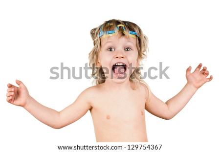 little boy in glasses for swimming on white - stock photo