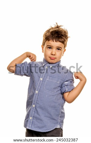 little boy in pose, symbol of childhood, uncertainty - stock photo