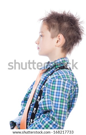 Little boy in profile, isolated on white background. - stock photo