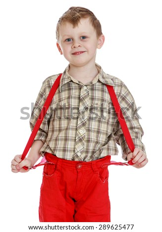Little boy in red shorts with straps, close-up - isolated on white background - stock photo